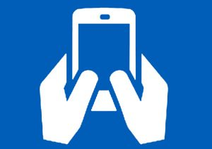 icon of hands using a mobile phone
