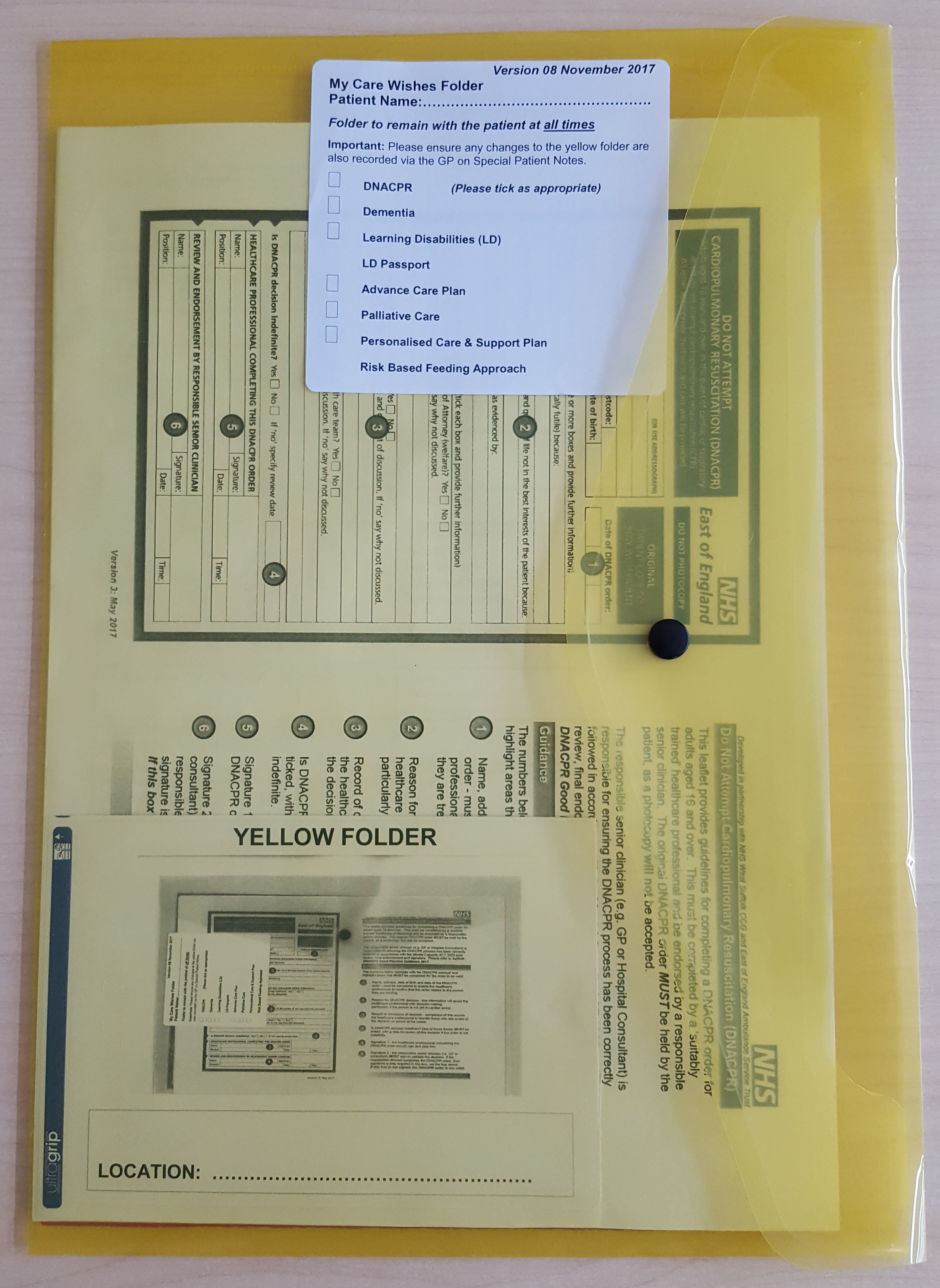 Yellow Folders - My Care Wishes - NHS West Suffolk Clinical
